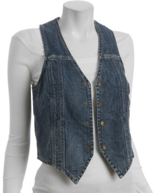 Current/Elliott crackle stretch denim snap front seamed vest