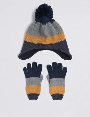 Marks and Spencer Kidsâ Striped Hat & Gloves Set