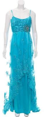Terani Couture Embellished Semi-Sheer Gown w/ Tags