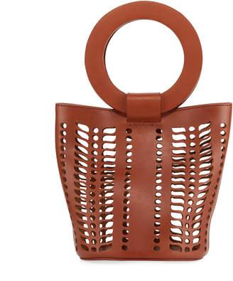 Modern Weaving Mini Leather Cutout Bucket Bag