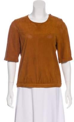 Isabel Marant Leather Short Sleeve Top
