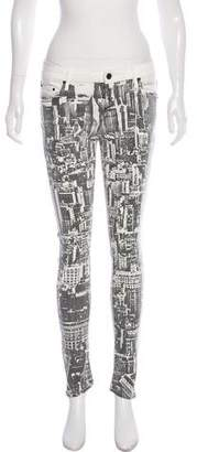 Mother Printed Skinny Stretch Jeans