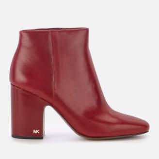 MICHAEL Michael Kors Women's Elaine Leather Heeled Ankle Boots - Mulberry