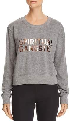 Spiritual Gangster Varsity Metallic Logo Cropped Sweatshirt