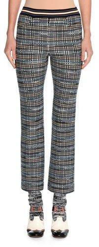Missoni Tartan Jacquard Cropped Kick-Flare Pants, Blue