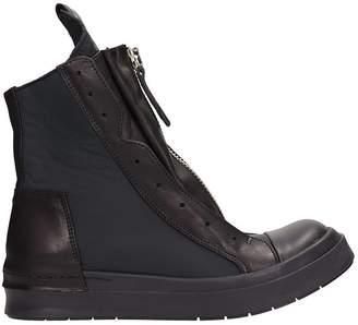 Cinzia Araia Hi Top Black Mesh Nylon And Leather Sneakers
