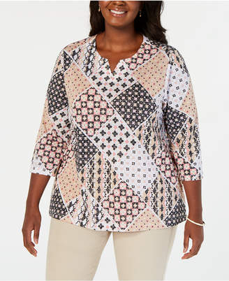 e88f27dbb2 Alfred Dunner Plus Size Classic Printed Top