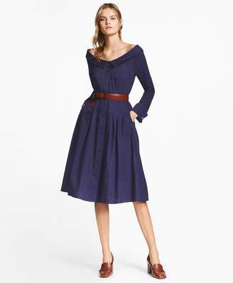 Brooks Brothers Patchwork Jacquard Portrait-Collar Shirtdress