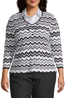 Alfred Dunner Grand Boulevard Chevron Layered Sweater - Plus