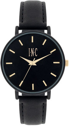 INC International Concepts Women's Black Leather Strap Watch 36mm IN005BK, Only at Macy's $49.50 thestylecure.com