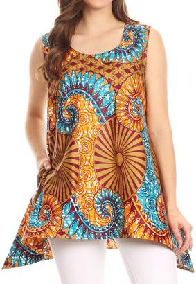 Sakkas 2164 - Hadiza Sleeveless Tank Top Blouse Wax African Ankara Casual Summer Simple - OS