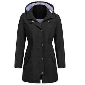 Liraly Womens Coats and Jackets WomenSolid Rain Jacket Outdoor Hoodie Waterproof Hooded Raincoat Windproof