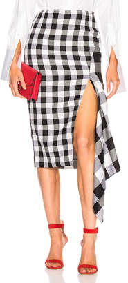 Monse Split Gingham Slash Skirt