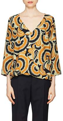 Dries Van Noten Women's Floral-Print Crepe Blouse