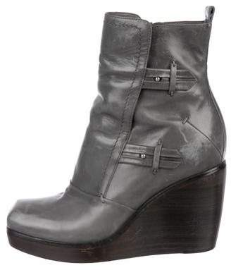 CNC Costume National Leather Wedge Ankle Boots