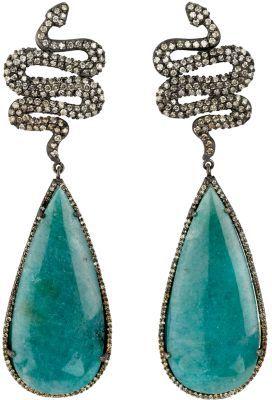Sara Weinstock Paraiba Tourmaline & Diamond Snake Earrings