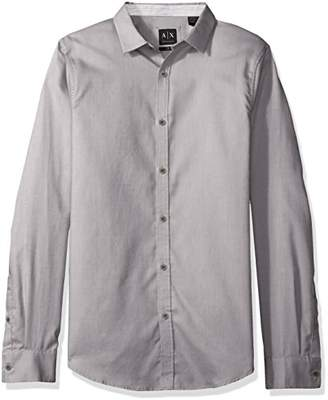 Armani Exchange A|X Men's Chambray Solid Button up Woven Slim Fit
