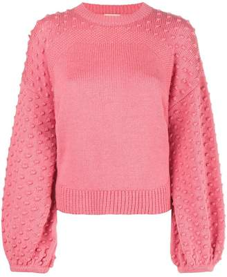 Nude puffball sleeved jumper