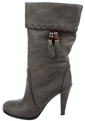 Gucci Leather Tassel Mid-Calf Boots