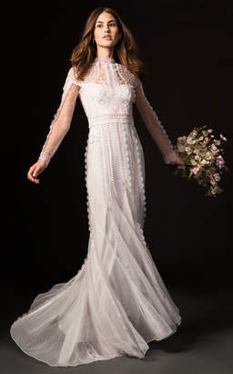 Temperley London Bridal Beatrix Gown with Long Sleeve Lace Overlay