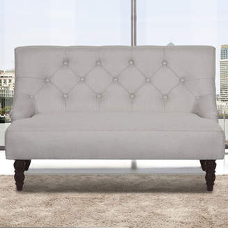 Container Tufted Linen Upholstered Loveseat
