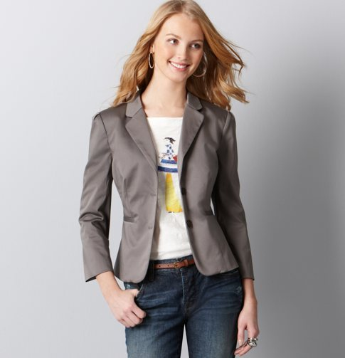 LOFT Tall Cotton Sateen 3/4 Sleeve Suit Jacket