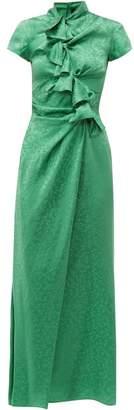 Saloni Kelly Foliage Jacquard Silk Satin Maxi Dress - Womens - Green