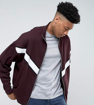 Asos DESIGN TALL Oversized Jersey Track Jacket With Cut & Sew