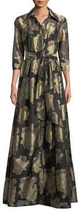 Rickie Freeman For Teri Jon Floral Organza Self-Tie Shirt Dress Gown