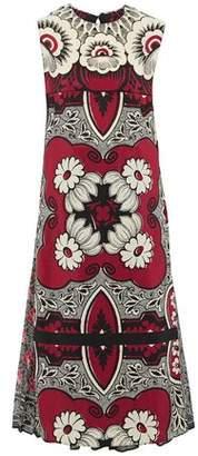Valentino Layered Printed Silk-Chiffon And Crepe De Chine Midi Dress