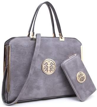 Marco M. Kerry MMK collection Women Fashion Pad-lock Satchel handbags with wallet(2553)~Designer Purse for Women ~Multi Pocket ~ Beautiful Designer Handbag Set (MA-KK-13-6900W-D.GY)