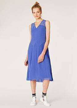 Women's Lavender Pleated Sleeveless Midi Dress