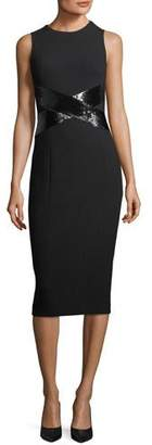 Michael Kors X-Paillette Sleeveless Sheath Stretch-Boucle Dress