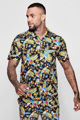 boohoo Parrot Print Revere Short Sleeve Shirt Co-ord
