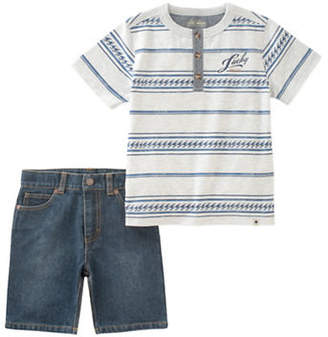 Lucky Brand Two-Piece Stripe Tee and Denim Shorts Set