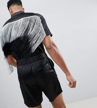 Asos DESIGN Tall Festival Slim Boilersuit With Fringing In Black