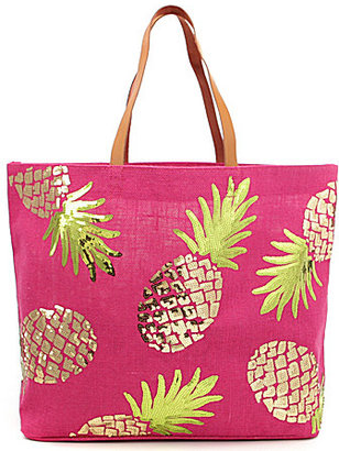 Mud Pie Pineapple Sequined Jute Tote $38 thestylecure.com