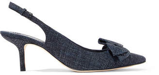 Tory Burch Rosalind Bow-embellished Suede Slingback Pumps - Navy