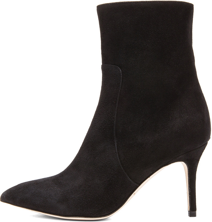 Brian Atwood Floran Cashmere Suede Booties in Black