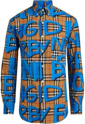Burberry graffiti-print vintage check shirt