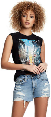 True Religion WOMENS CRYSTAL EMBELLISHED WHEATPASTE CITY TEE