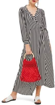 Topshop Stripe Wrap Midi Shirtdress