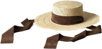 Janessa Leone Nina Suede-Trimmed Straw Hat