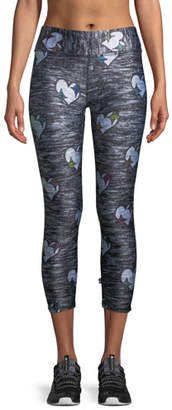 Terez Heathered Hearts Tall Band Capri Leggings