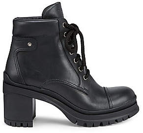 Prada Women's Lug-Sole Leather Combat Boots