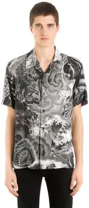 Just Cavalli Printed Fluid Viscose Short Sleeve Shirt