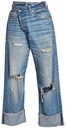 R 13 Distressed Crossover Jeans
