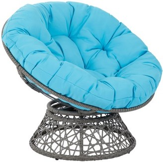 Office Star OSP Designs by Products Papasan Chair with Blue cushion and Grey Frame