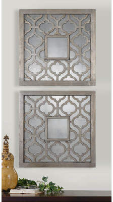 Mistana Uptal Square Silver Leaf Wall Mirror