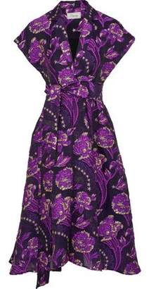 Temperley London Elsa Wrap-Effect Brocade Midi Dress